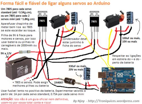 Guia - Como alimentar Arduino e servos